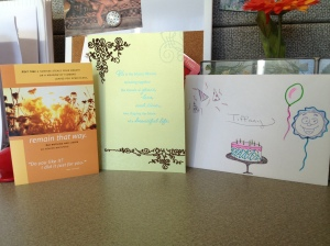 Sweet cards (and a decorated envelope) from the best co-workers ever.