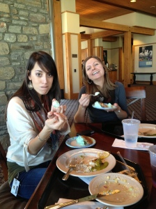 Being silly at lunch. Elizabeth looks ticked off, and I was apparently very happy.