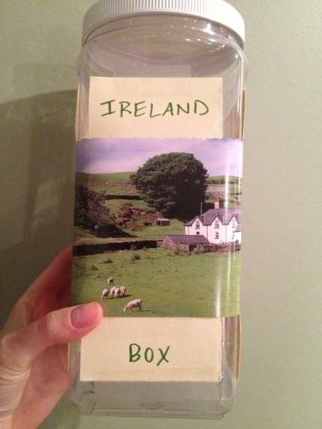 "I started an Ireland jar in college, but never had cash so it turned into a holder for my shower curtain rings. Today I decided it's back. I'm going to make this happen. I wrote ""Ireland Box"" before realizing I should have written ""Jar"" again, but oh well."