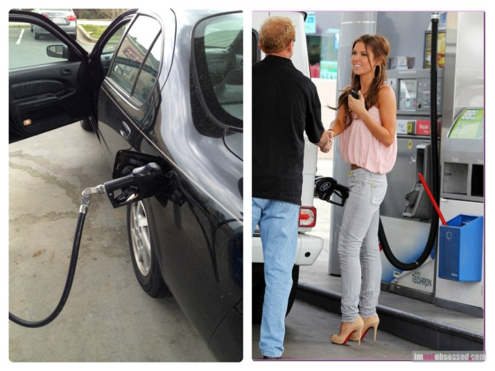 I got gas. Unlike actress and model Audrina Patridge, I wasn't greeted by a fan.
