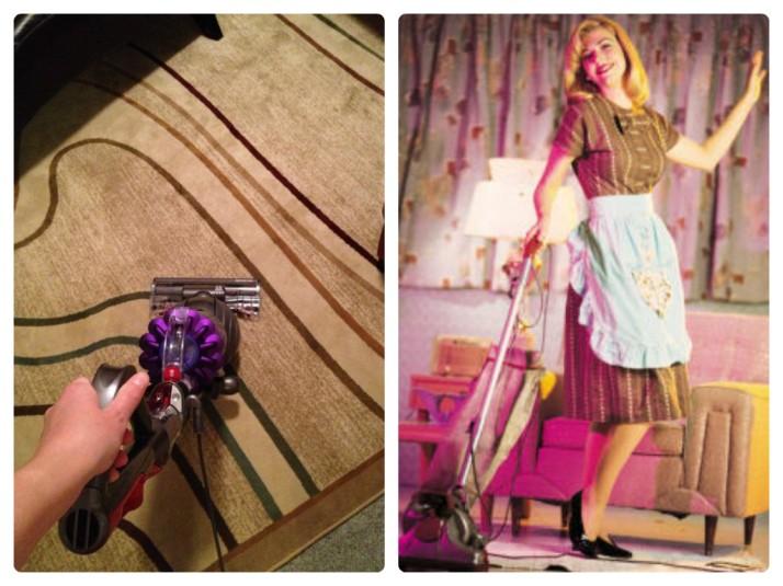I vacuumed. I did not wear a dress, apron and black pumps.