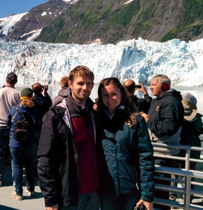 In front of one of the glaciers.
