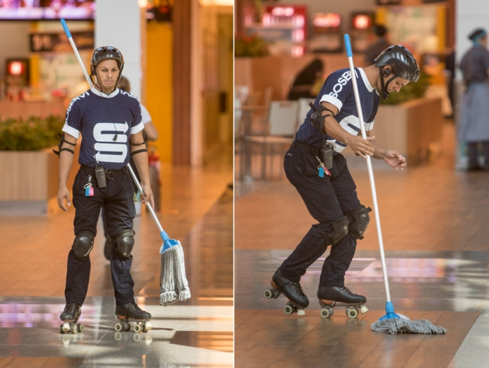 The skating mall mopper! (Photo by Greg Schneider.)